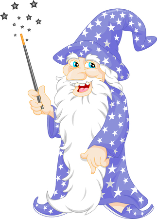 魔法の杖を保持している古いウィザード  イラスト・ベクター素材