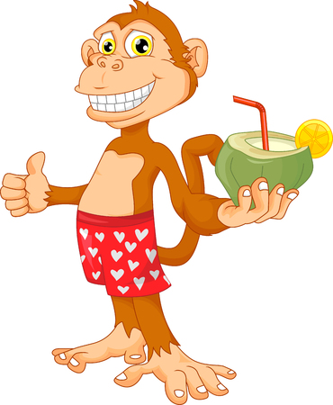 baby playing toy: monkey with coconut cartoon