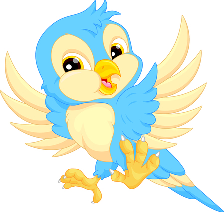 pajaro caricatura: Caricatura de aves lindo  Vectores
