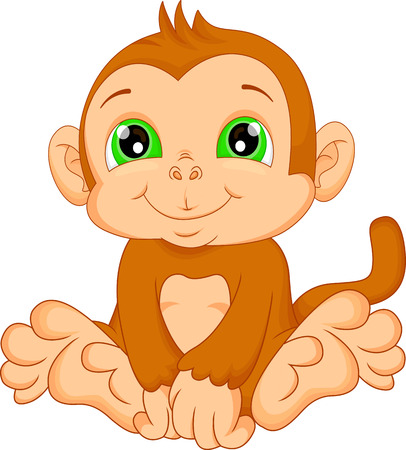 monkey in a tree: cute baby monkey cartoon