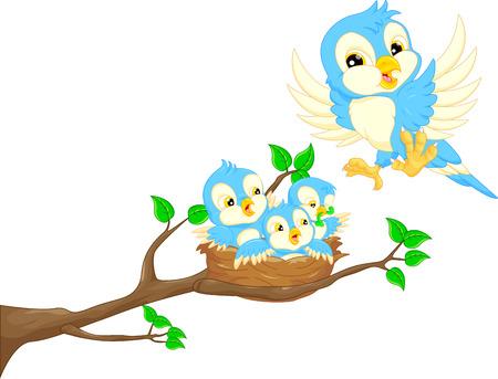 arboles caricatura: Pájaro de vuelo y el bebé de aves en el nido