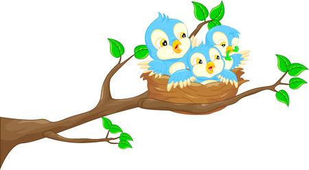aves caricatura: Pájaro de vuelo y el bebé de aves en el nido