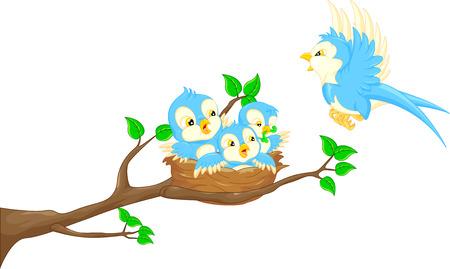飛んでいる鳥と巣に赤ちゃんの鳥  イラスト・ベクター素材