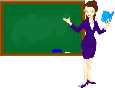 explain: Cartoon female teacher standing next to a blackboard Illustration