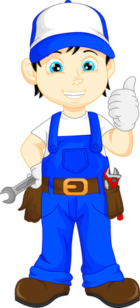 mechanic cartoon thumb up Illustration