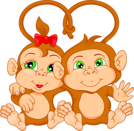 thumping: cute monkey couple cartoon