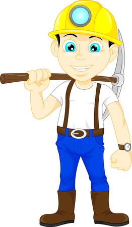 mijnwerker jongen houdt u de pikhouweel Vector Illustratie