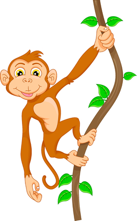 thumping: Cartoon monkey hanging in tree