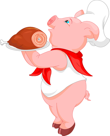 cute chef pig cartoon Illustration