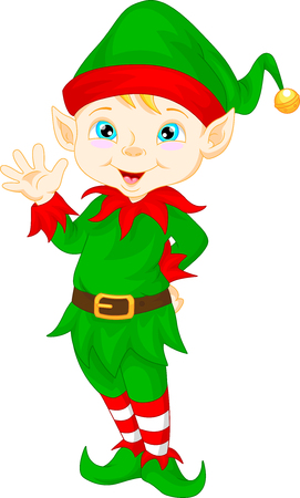 elf hat: cute cartoon elf waving