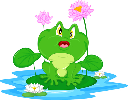 lily pad: Green frog sitting on a leaf Illustration