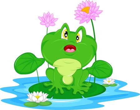 lily pads: Green frog sitting on a leaf Illustration