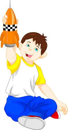 cheerful cartoon: Young boy playing toy rocket