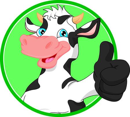 cow cartoon  mascot 일러스트