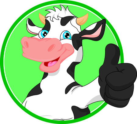 humor: cow cartoon  mascot Illustration