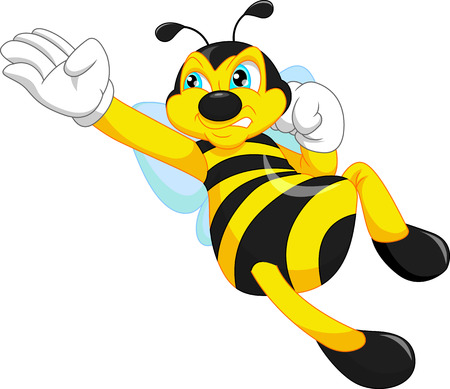 pollinate: bee cartoon flying Illustration