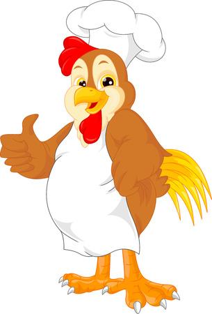 chicken wings: cute chef rooster cartoon thumb up