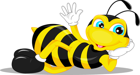 happy kids cartoon: cute bee cartoon waving