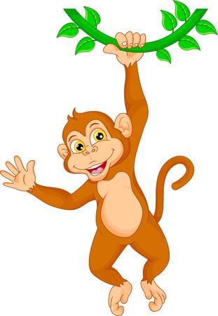 show plant: Cartoon monkey hanging