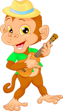 trees forest: cute monkey with ukulele guitar Illustration