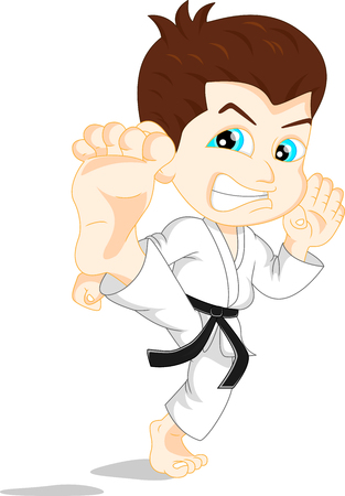 black baby boy: karate boy cartoon