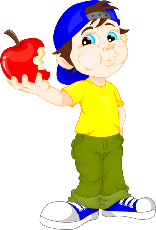 vector student: cute boy and red apple