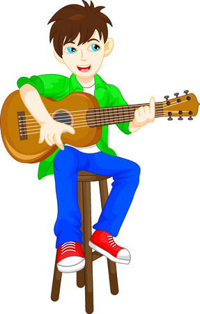 boy playing guitar: cute boy playing guitar
