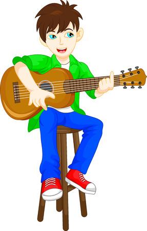 playing guitar: cute boy playing guitar