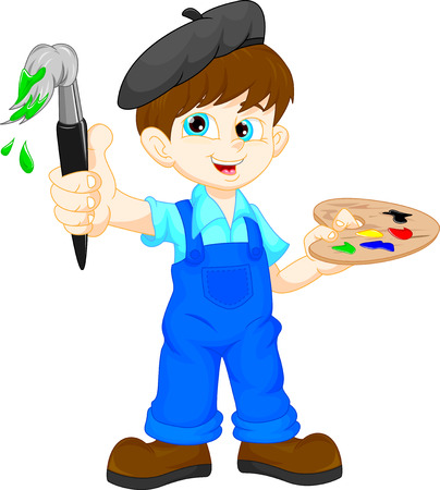 art and craft: Cartoon boy painting