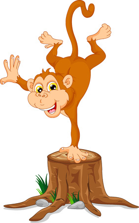 thumping: Cute monkey cartoon standing on his hand