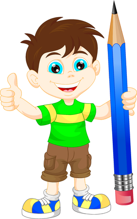 children studying: cartoon boy with pencil