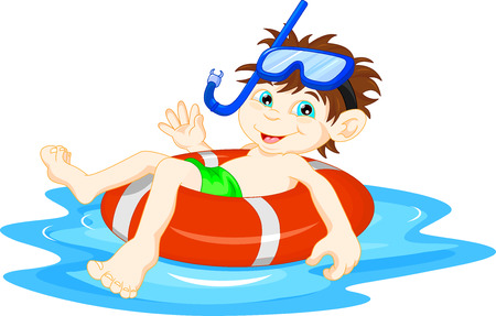 toddler boy: little Boy diver with lifebuoy waving