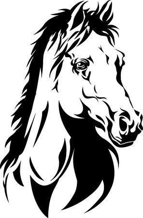 yegua: silueta de la cabeza de un caballo Vectores