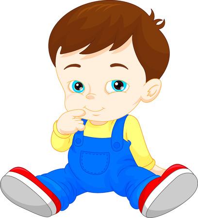 comic baby: Cartoon cute baby boy Illustration