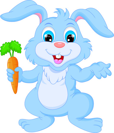 bunny rabbit: Cartoon happy rabbit holding carrot
