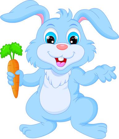 Conejo de dibujos animados feliz celebración de zanahoria Ilustración de vector