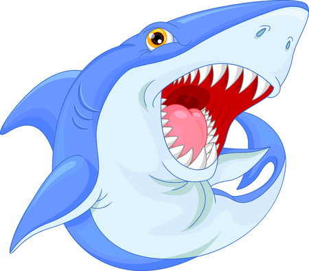 fear cartoon: angry shark cartoon Illustration