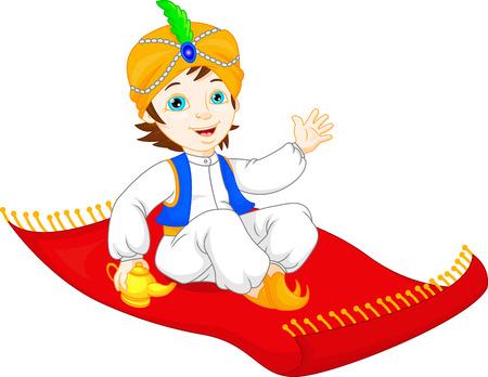 Aladdin op een vliegend tapijt reizende Vector Illustratie