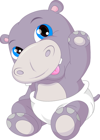 cute baby hippo cartoon waving Illustration