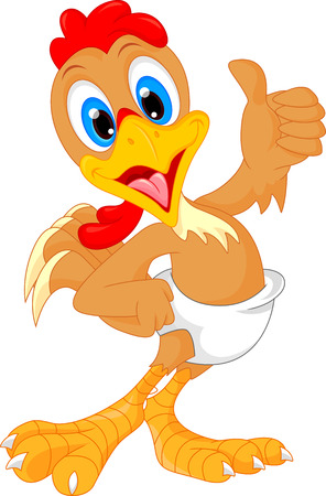 chicken wings: cute baby rooster cartoon thumb up Illustration