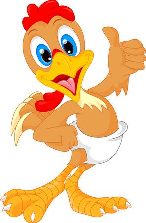 pajaro caricatura: lindo bebé de dibujos animados gallo pulgar hacia arriba Vectores