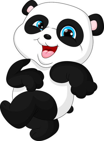 trees landscape: Cute funny baby panda