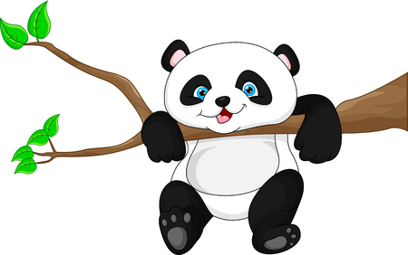 funny baby: Cute funny baby panda hanging on the tree Illustration