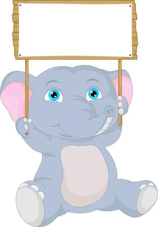 blank sign: cute baby elephant cartoon with blank sign Illustration