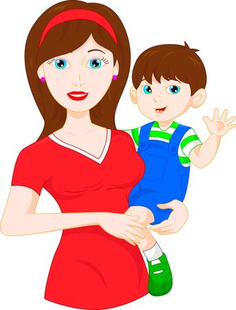 mom and baby waving