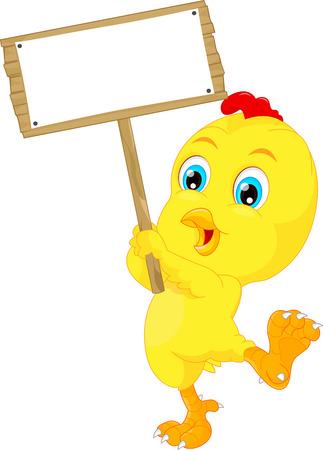baby chicken: Cute baby chicken cartoon with blank sign