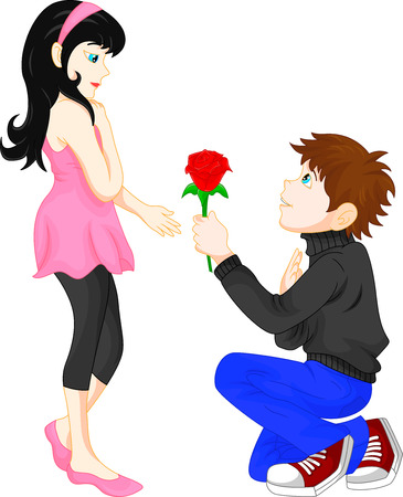 give: man give red flower women