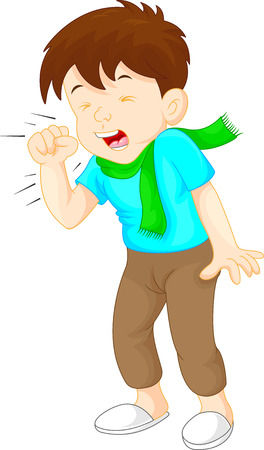 little boy coughing on white background