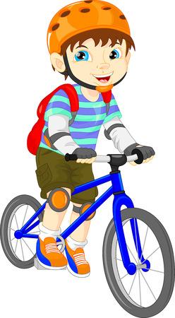 leuke jongen op een fiets Stock Illustratie
