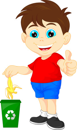 organic waste: little boy recycling organic waste